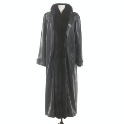 Black Leather and Fox Fur Full-Length Coat, Vintage