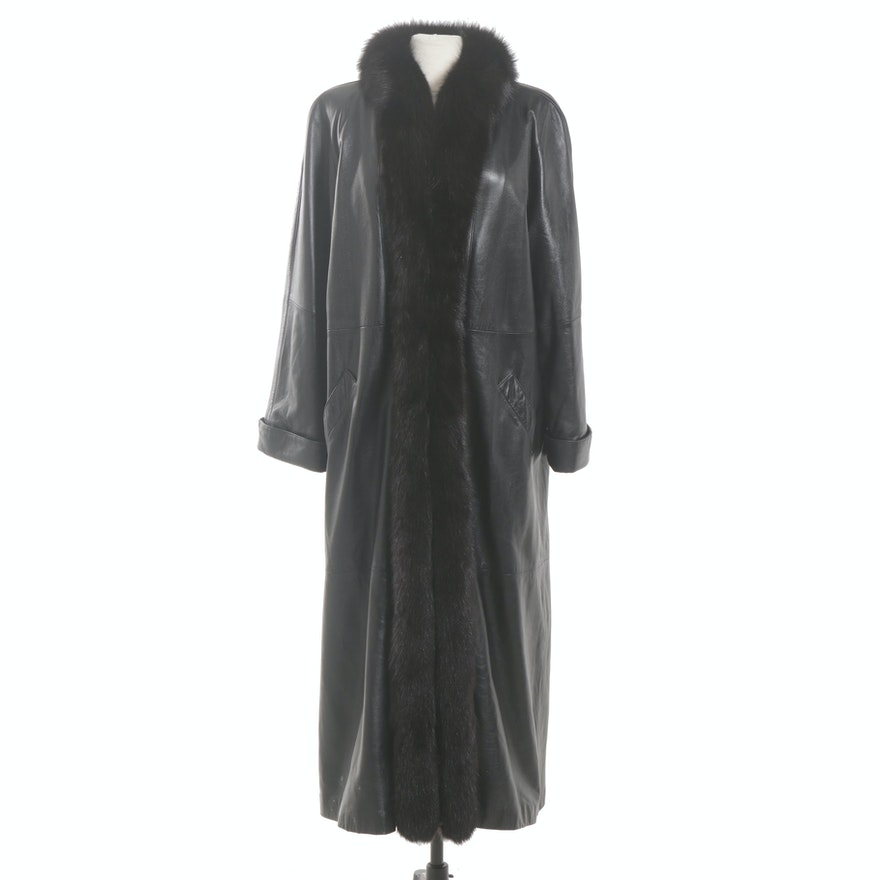 Black Leather and Fox Fur Full-Length Coat, Vintage
