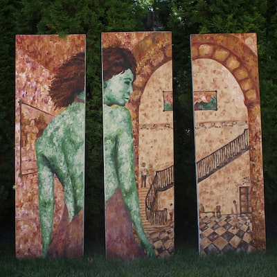 Figurative Triptych Acrylic Painting