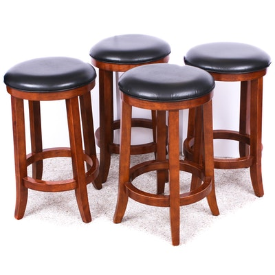 Contemporary Faux Leather Barstools, Set of Four
