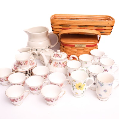 Royal Victoria and Colough and Other Porcelain Serveware with Longaberger Basket