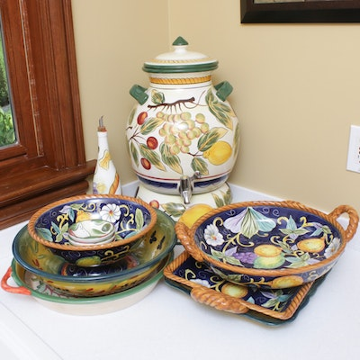 Contemporary Hand-Painted Ceramic Serveware Including The Pampered Chef