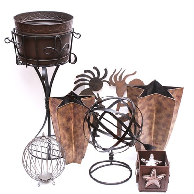 Contemporary Metal Star Vases, Planter and Wall Decor
