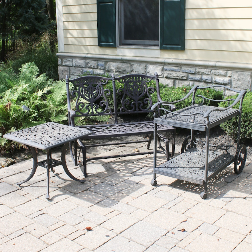 Contemporary Cast Aluminum Patio Glider Bench, Bar Cart and Side Table