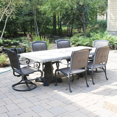 Contemporary Cast Aluminum Patio Dining Set