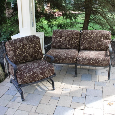 Contemporary Cast Aluminum Patio Loveseat and Chair