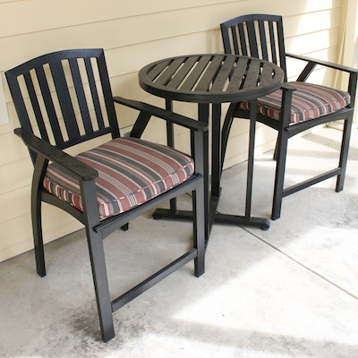 Contemporary Cast Metal High Top Patio Table and Two Chairs