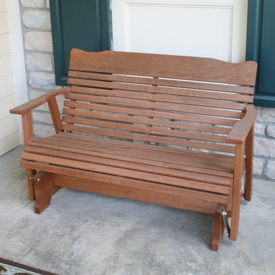 Wood Patio Glider Bench