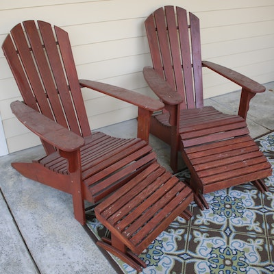 Adirondack Armchairs and Footstools, Set of Two