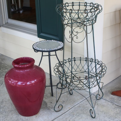 French Wire Style Plant Stand, Ceramic Planter and Glass Top Plant Stand