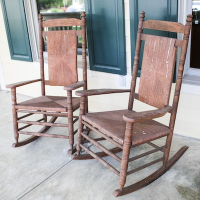 Contemporary Patio Rockers with Rush Seats, Set of Two