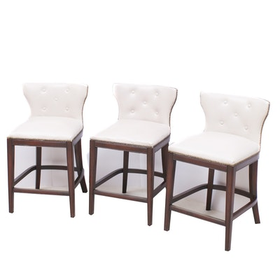 Three Frontgate Cream Leather Barstools with Nailhead Trim