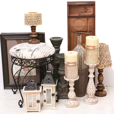 Contemporary Candlesticks, Lanterns, Vanity Stool and Decorative Items
