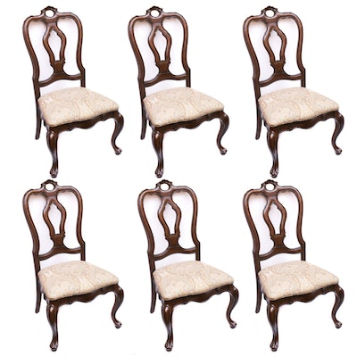 Six Thomasville Queen Anne Style Mahogany-Finish Dining Chairs