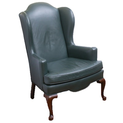 Contemporary Ethan Allen Leather Wingback Armchair
