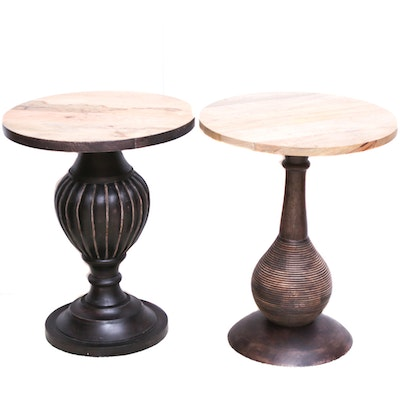 Contemporary Wood Pedestal Side Tables, Set of Two