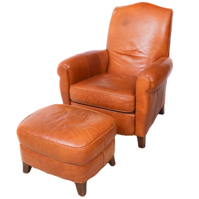 Contemporary Ethan Allen Cognac Leather Armchair with Ottoman