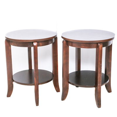 Contemporary Wooden Circular Side Tables