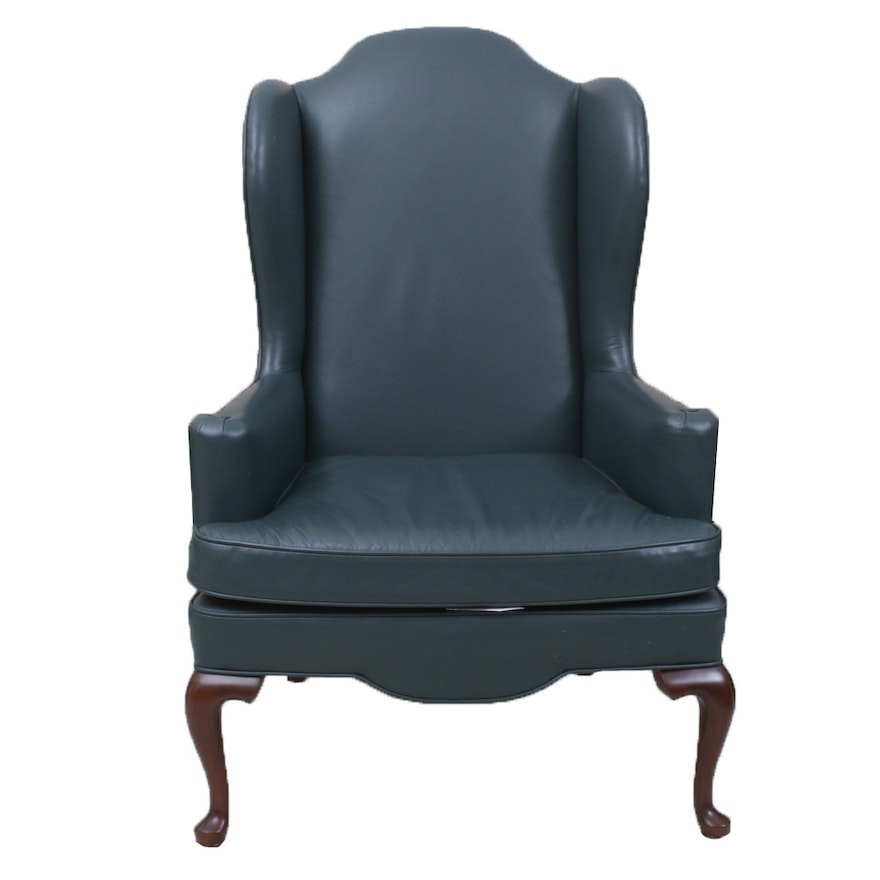 Ethan Allen Green Leather Wingback Chair