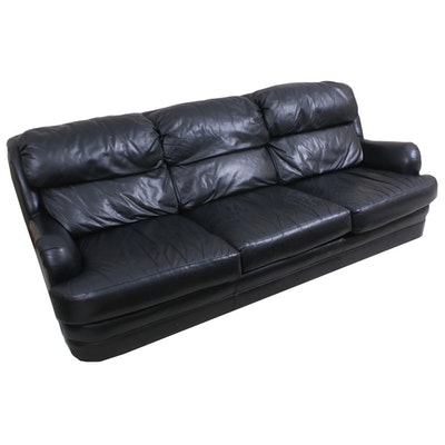 Classic Leather Black Leather Sofa