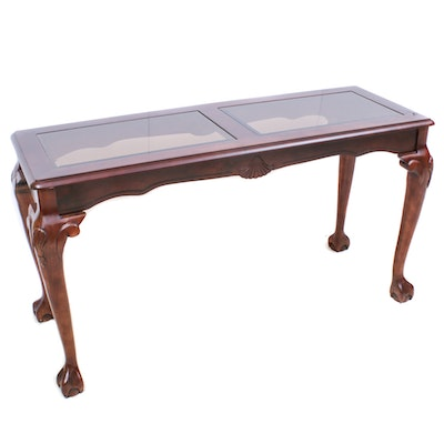 Queen Anne Style Glass Top Sofa Table
