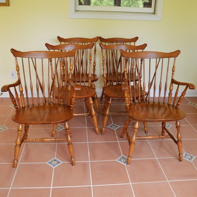 Six Windsor Style Maple Dining Chairs, Mid to Late 20th Century