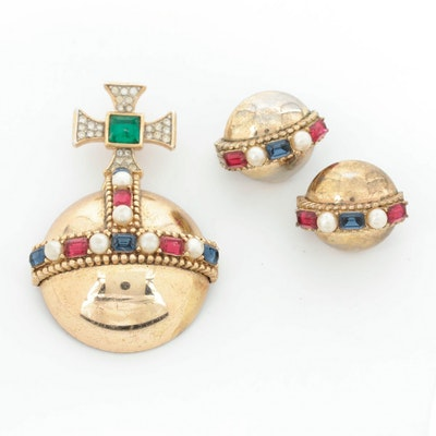 """1953 Alfred Philippe for Crown Trifari """"Coronation Gems"""" Brooch and Earrings"""