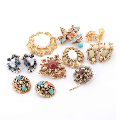 Circa 1960 Costume Brooches and Earrings Featuring Hobé and Florenza