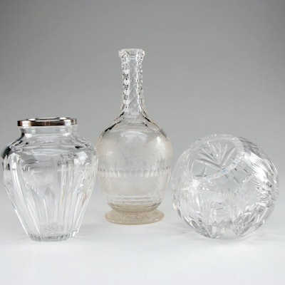 Floral Etched and Cut Glass Decanter with Cut Glass Vases