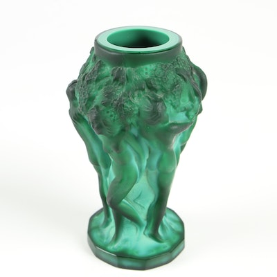 Desná Art Nouveau Malachite Art Glass Vase with Nude Bacchantes Figures