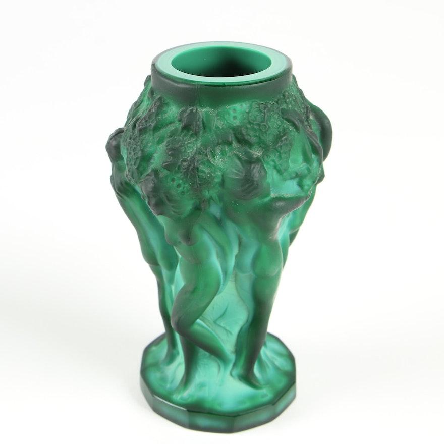 Desná Art Nouveau Malachite Art Glass Vase with Nude Bacchantes Figures