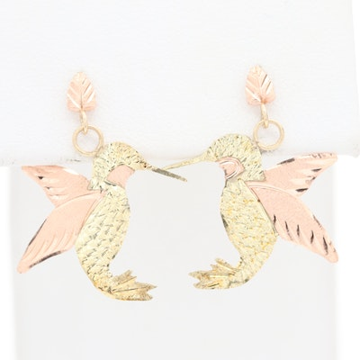 Coleman Co. Black Hills 10K Yellow and Rose Gold Hummingbird Earrings
