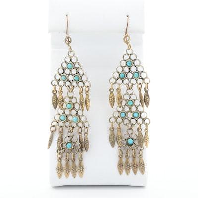 Vintage Turkman Style Turquoise Earrings