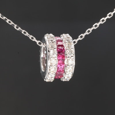 14K White Gold Ruby and Diamond Pendant Necklace