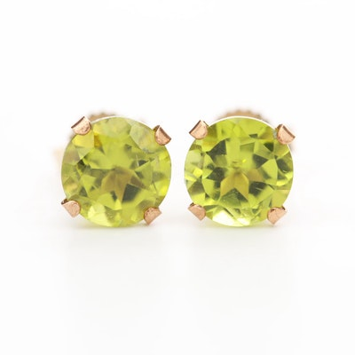 10K Yellow Gold Peridot Stud Earrings