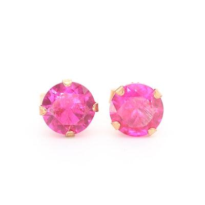 10K Yellow Gold Synthetic Ruby Stud Earrings