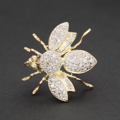 14k Yellow Gold Diamond Bee Brooch