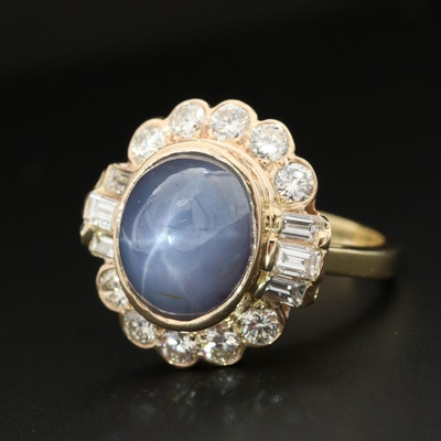 18K Yellow Gold Star Sapphire and 1.13 CTW Diamond Ring