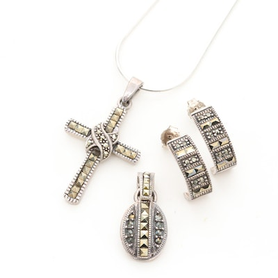 Sterling Silver Marcasite Cross Pendant Necklace, Earrings, and Pendant
