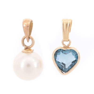 18K Yellow Gold Cultured Pearl Pendant and 14K Gold Spinel Pendant