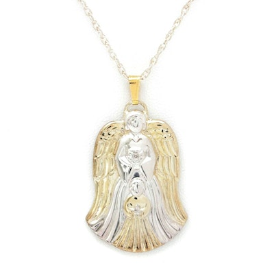 Gorham Sterling Silver Angel Necklace with Gold Wash Accents