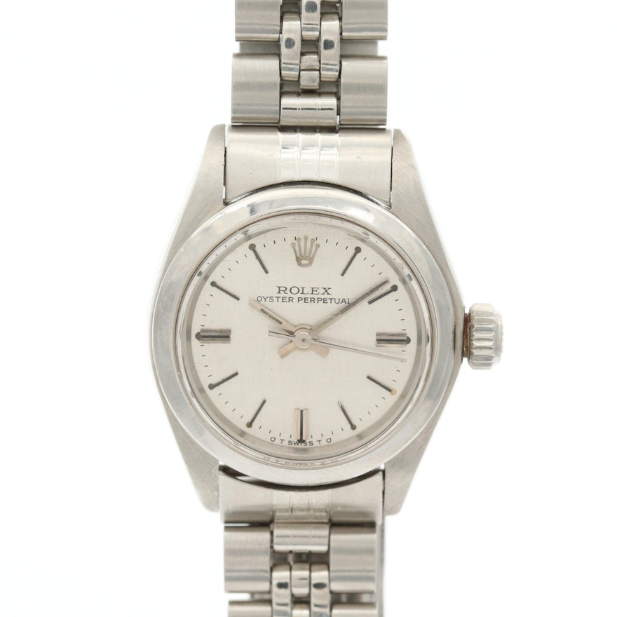 Vintage Rolex Oyster Perpetual Stainless Steel Wristwatch With Sigma Dial