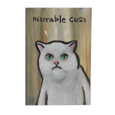 "N. Scott Carroll 2019 Acrylic Folk Painting ""Miserable Cuss"""