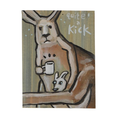 "N. Scott Carroll 2019 Acrylic Folk Painting ""Quite a Kick"""