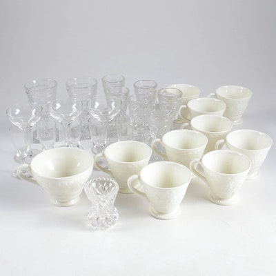 "Wedgwood ""Wellesley"" Porcelain Cups and Other Crystal Stemware"