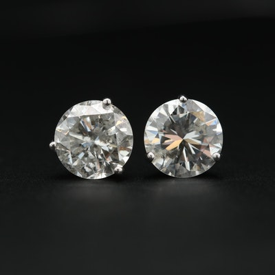 14K White Gold 3.47 CTW Diamond Stud Earrings