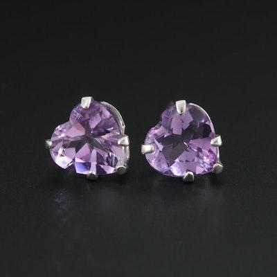 14K White Gold Amethyst Heart Stud Earrings