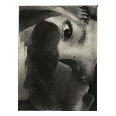 Marlowe Wesley Abstracted Portrait Charcoal Drawing