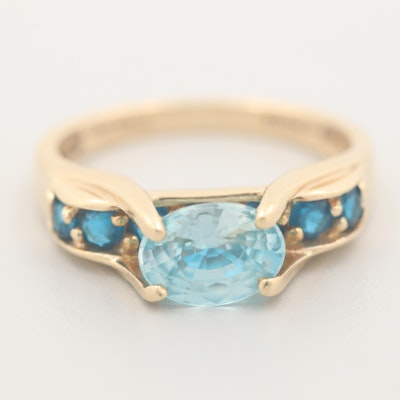 14K Yellow Gold Topaz and Apatite Ring