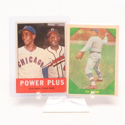 "1960 Fleer Ty Cobb, 1963 Topps Ernie Banks, and Hank Aaron ""Power Plus"" Cards"